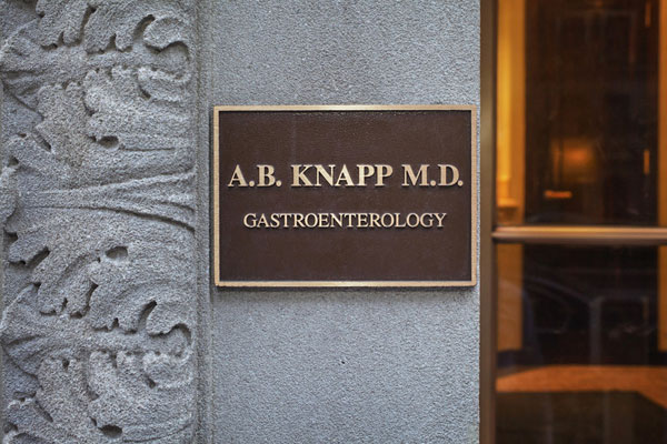 A.B. Knapp M.D. entrance plaque