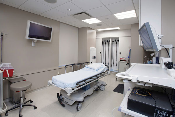 doctor's practice room interior with bed